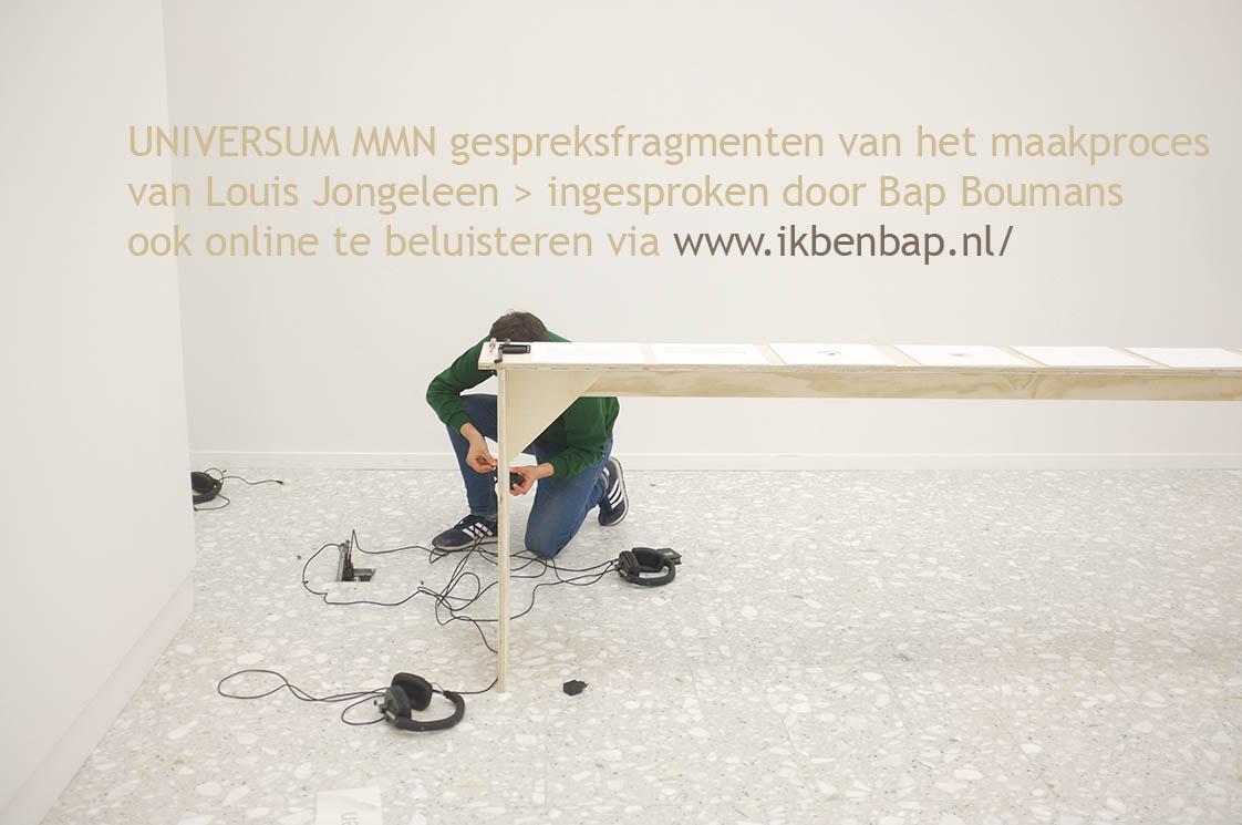 2017 - UNIVERSUM MMN - Gespreksmfragmenten door Louis Jongeleen ingesproken door Bap Boumans te beluisteren via http://ikbenbap.nl. Expo NUCLEUS 'De verbeelding van Wetenschap - Imagining science' Internationaal Fotomanifestatie Noorderlicht 2017 - Kunstsalon Assen KINK / Drents Museum NL