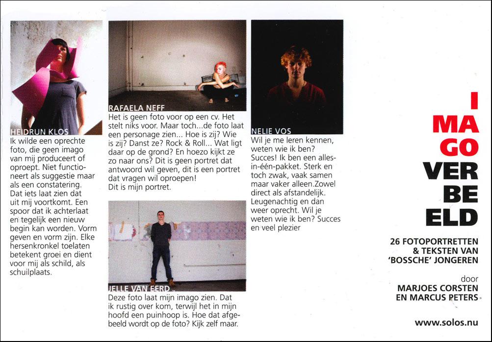 2008-2018 - SOLOS IMAGO - SOLOS pand - katalogus expo IMAGO VERBEELD, 26 fotoportretten en teksten van Bossche jongeren die zich presenteren op het SOLOS platform