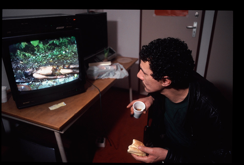 1996 - WINTI SURINAME - KLINIEK SANTIGRON - Nederland, client bureau Alcohol en Drugs Eindhoven kijkt naar videobeelden van Guno tijdens de winti ceremonie / Netherlands, client agency Alcohol and Drugs in Eindhoven looks at video images of Guno during the winti ceremony