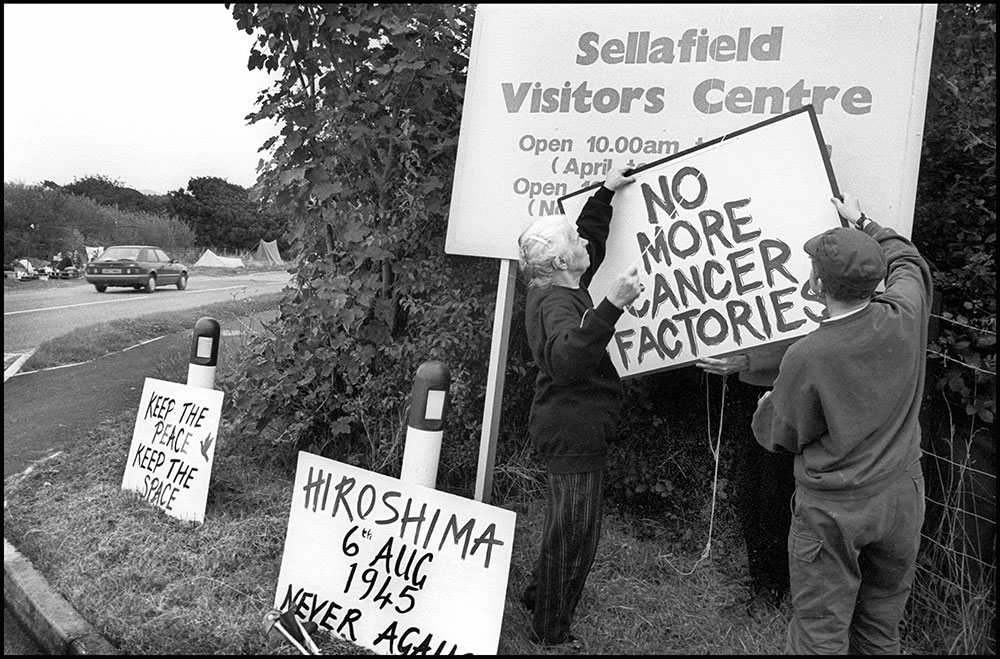 1994- SELLAFIELD NUCLEAR -  Peace protester Catherina Barnes, camping and protesting at the entrance of the factory